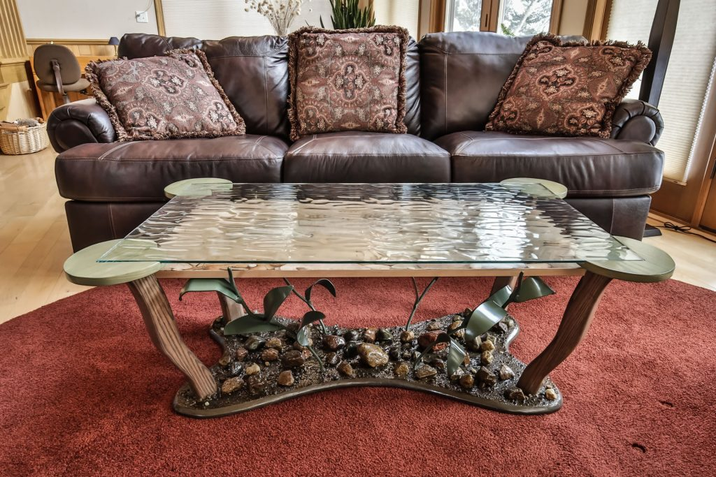 Coffee table with woodburned and colored musky